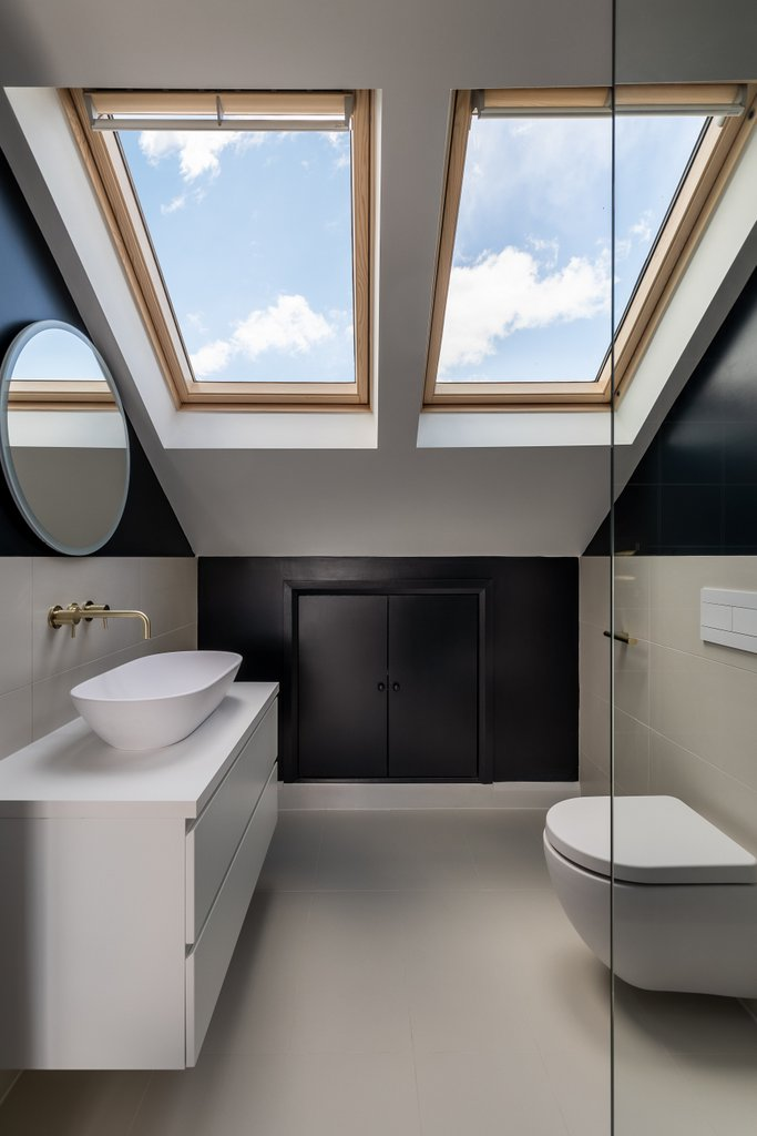 Rendered loft bathroom rooflights